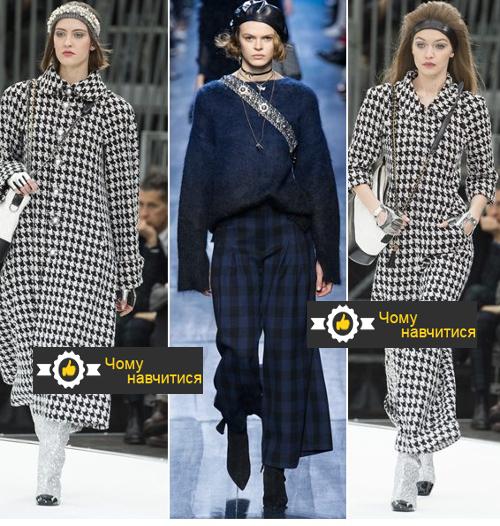 Модний картатий брючний костюм і пальто Chanel, штани Marni осінь-зима 2017-2018