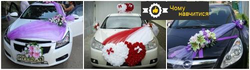Вибираємо варіанти: як прикрасити весільні машини своїми руками, фото